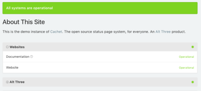 Cachet - PHP Laravel based open source status page system
