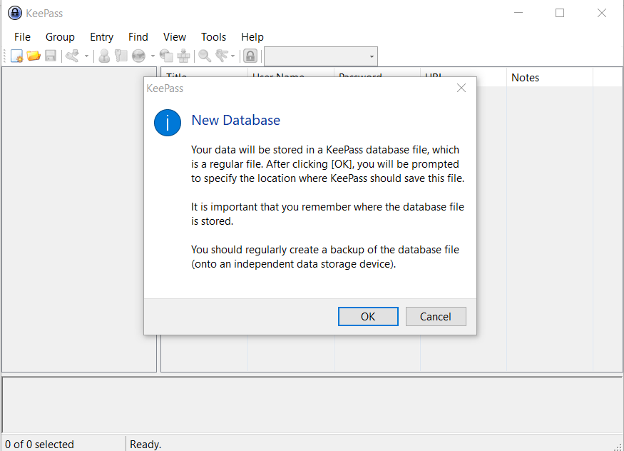 Setup and Manage KeePass Password Manager For Windows open new db